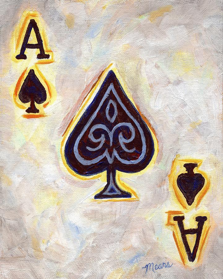 Card Painting - Ace of Spades by Linda Mears