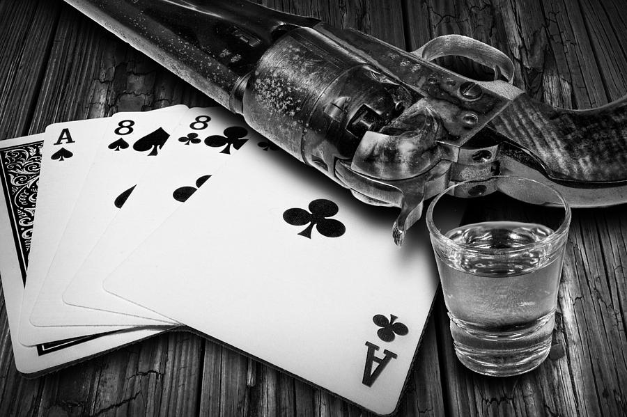 Game Photograph - Aces And Eights With Shot Glass And Revolver by Randall Nyhof