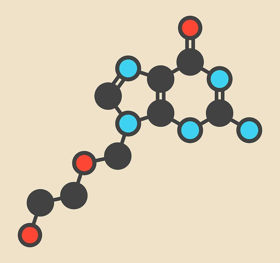 Aciclovir Photograph - Aciclovir Antiviral Drug Molecule by Molekuul