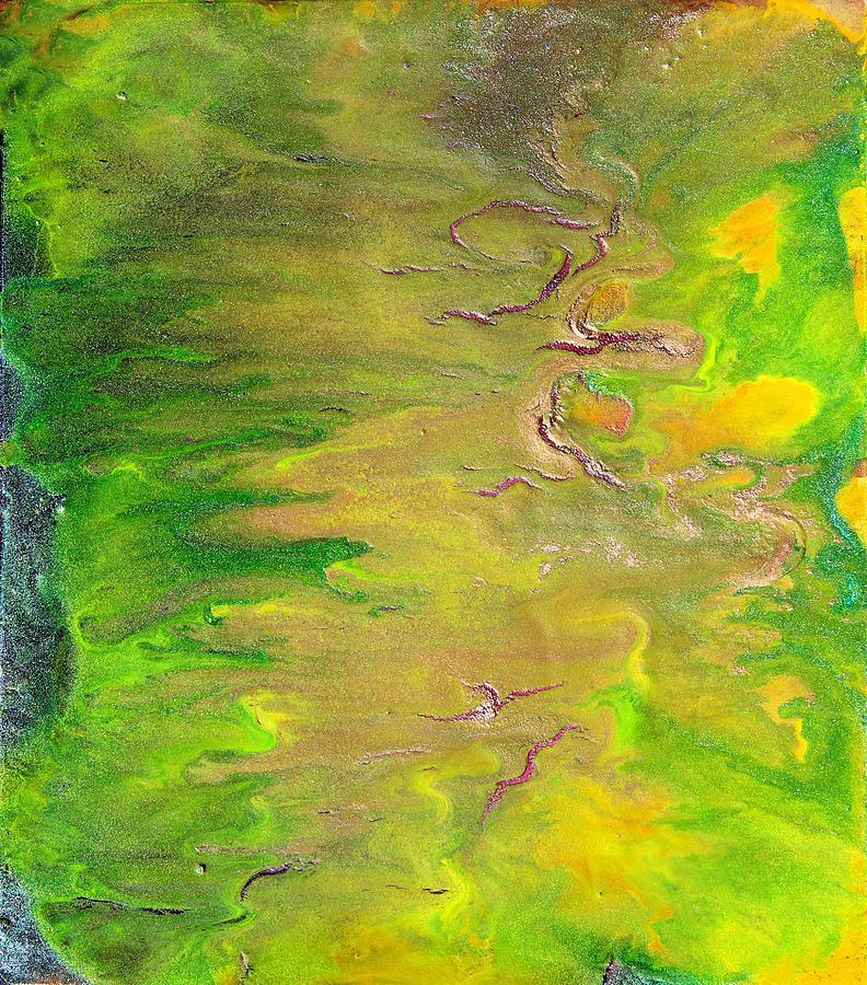 Abstract Painting - Acid Green Abstract by Julia Apostolova