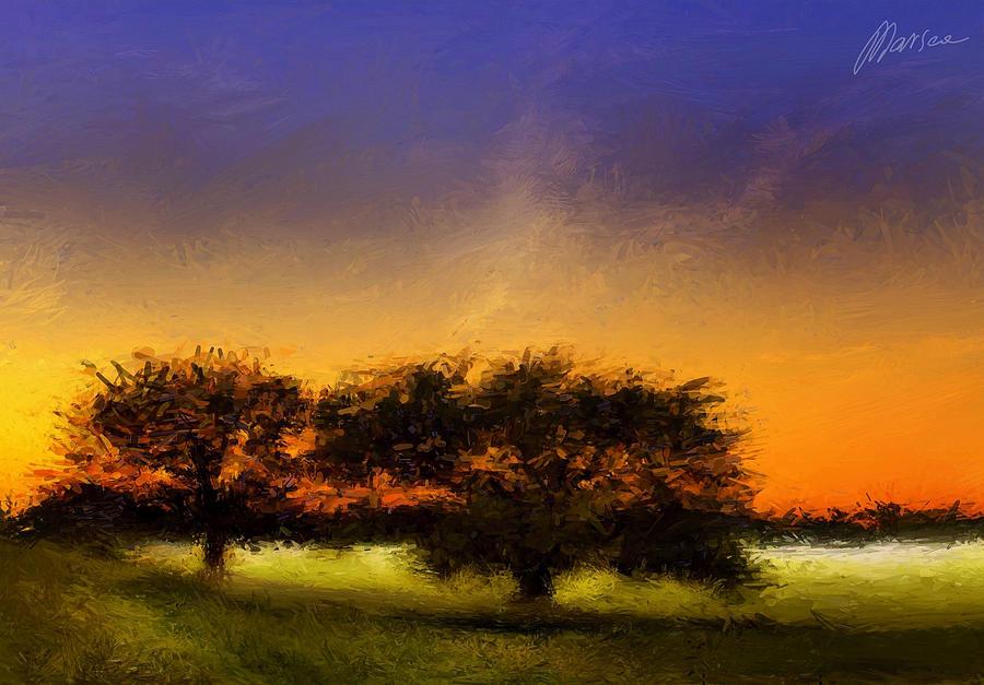 Landscape Painting - Acid Sunset by Marina Likholat