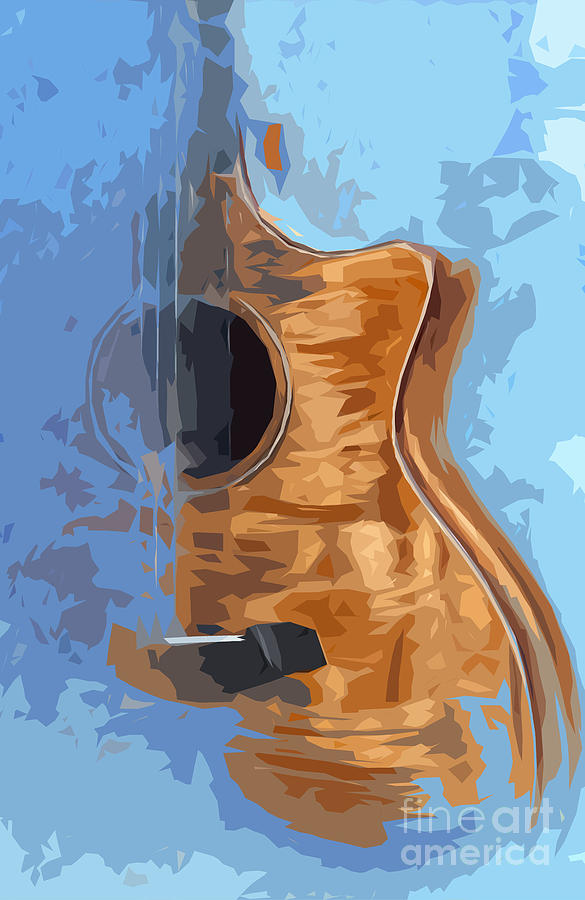Acoustic Guitar Blue Background 1 Drawing