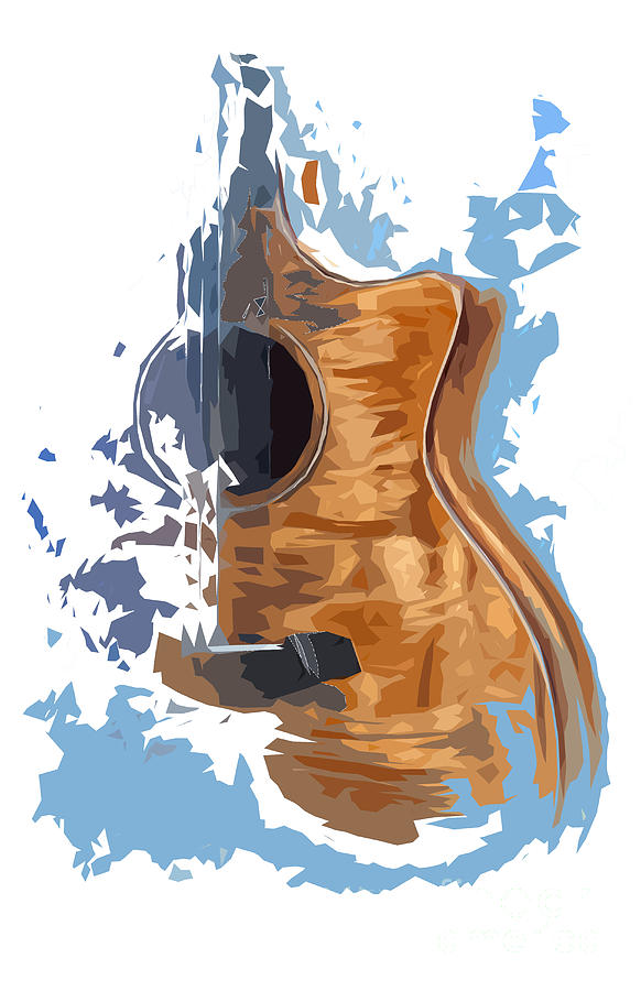 Acoustic Guitar Blue Background 4 Drawing