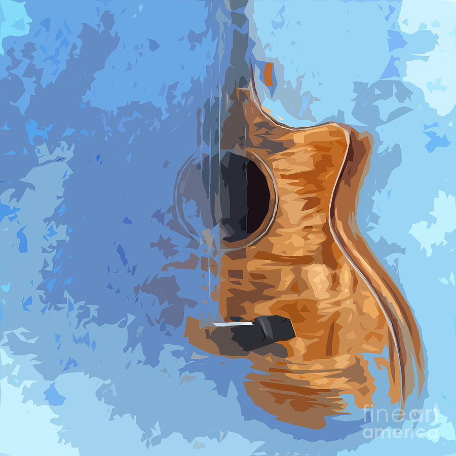 Blue Guitar Digital Art - Acoustic Guitar Blue Background 5 by Drawspots Illustrations