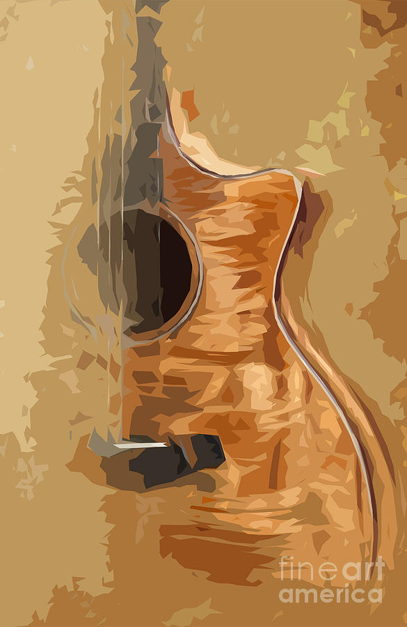 Blue Guitar Digital Art - Acoustic Guitar Brown Background 1 by Drawspots Illustrations