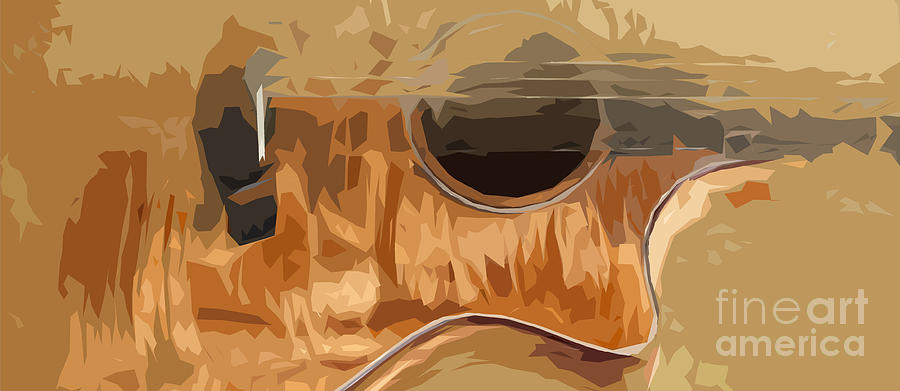 Blue Guitar Digital Art - Acoustic Guitar Brown Background 2 by Drawspots Illustrations