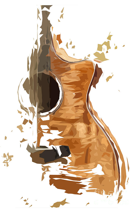 Blue Guitar Digital Art - Acoustic Guitar Brown Background 4 by Drawspots Illustrations