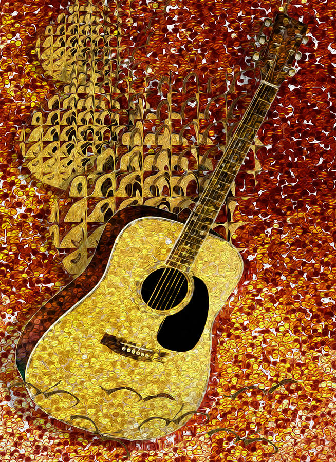 Tuba Painting - Acoustic Guitar by Jack Zulli
