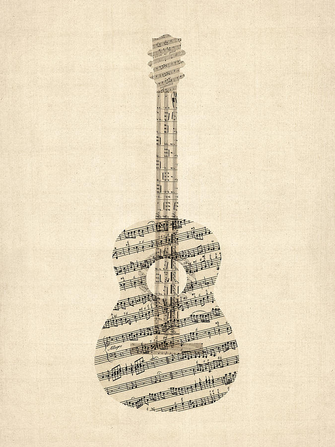 acoustic guitar old sheet music digital art by michael tompsett. Black Bedroom Furniture Sets. Home Design Ideas