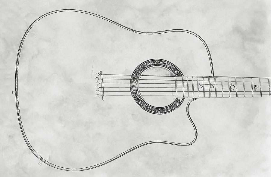 Acoustic Guitar Digital Art - Acoustic Guitar On White Sketch by Randy Steele