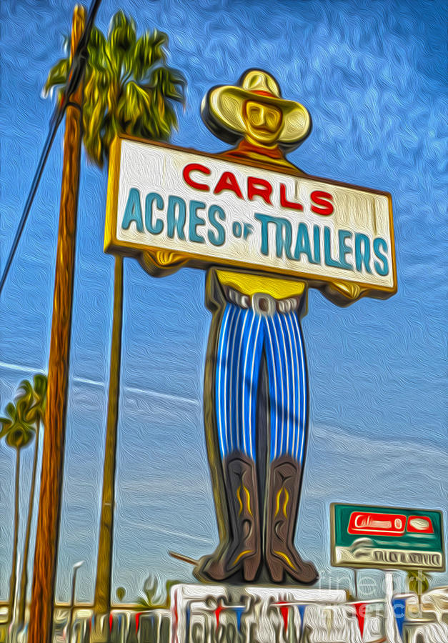 Giant Cowboy Sign Painting - Acres Of Trailers 2 by Gregory Dyer
