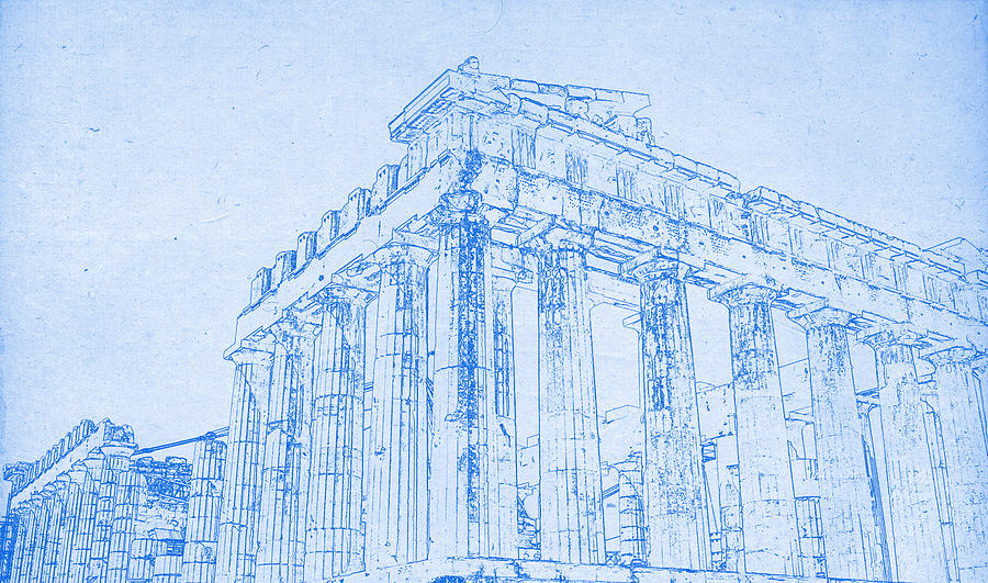 Acropolis of athens blueprint drawing digital art by motionage designs painting digital art acropolis of athens blueprint drawing by motionage designs malvernweather Image collections