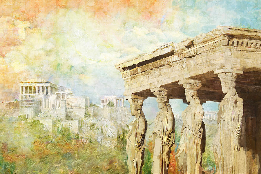 Greecetemple Of Apollo Epicurius At Bassaeacropolis Painting - Acropolis Of Athens by Catf