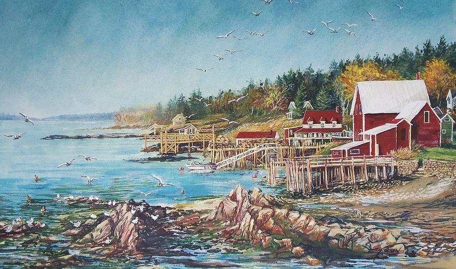 Seagulls Painting - Across The Bridge by Joy Nichols