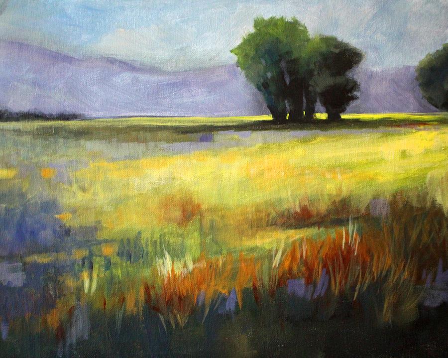 Oregon Painting - Across The Field by Nancy Merkle