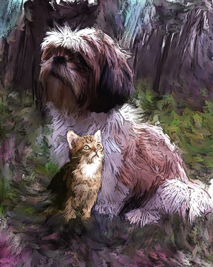 Dog Digital Art - Act Attracts by Richard Okun