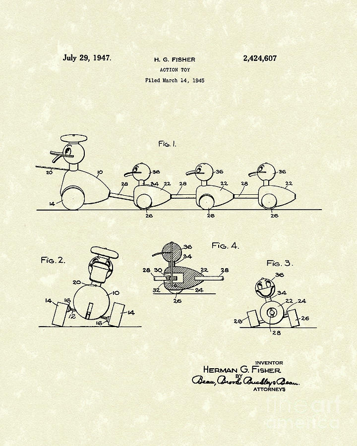Fisher Drawing - Action Toy 1947 Patent Art by Prior Art Design