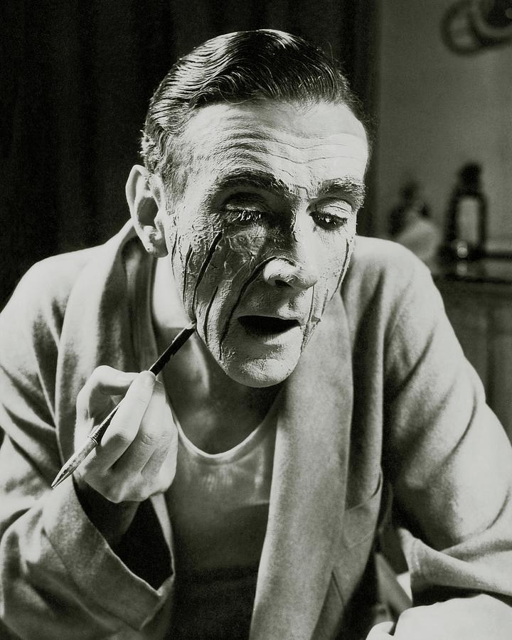 Actor Clifton Webb Applying Make-up Photograph by Lusha Nelson