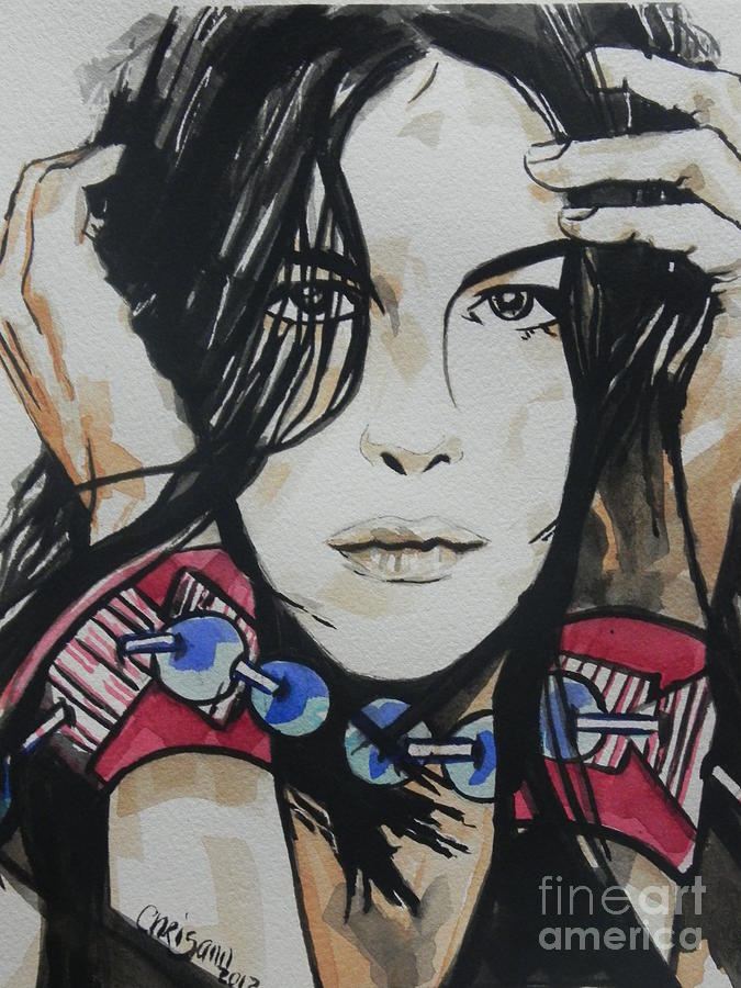 Watercolor Painting Painting - Actress ...liv Tyler by Chrisann Ellis
