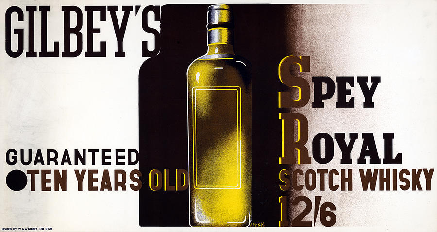 1933 Painting - Ad Gilbeys Scotch, 1933 by Granger