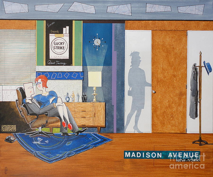 Mad Men Painting - Ad Man Sitting In An Eames With Girl Friday by John Lyes