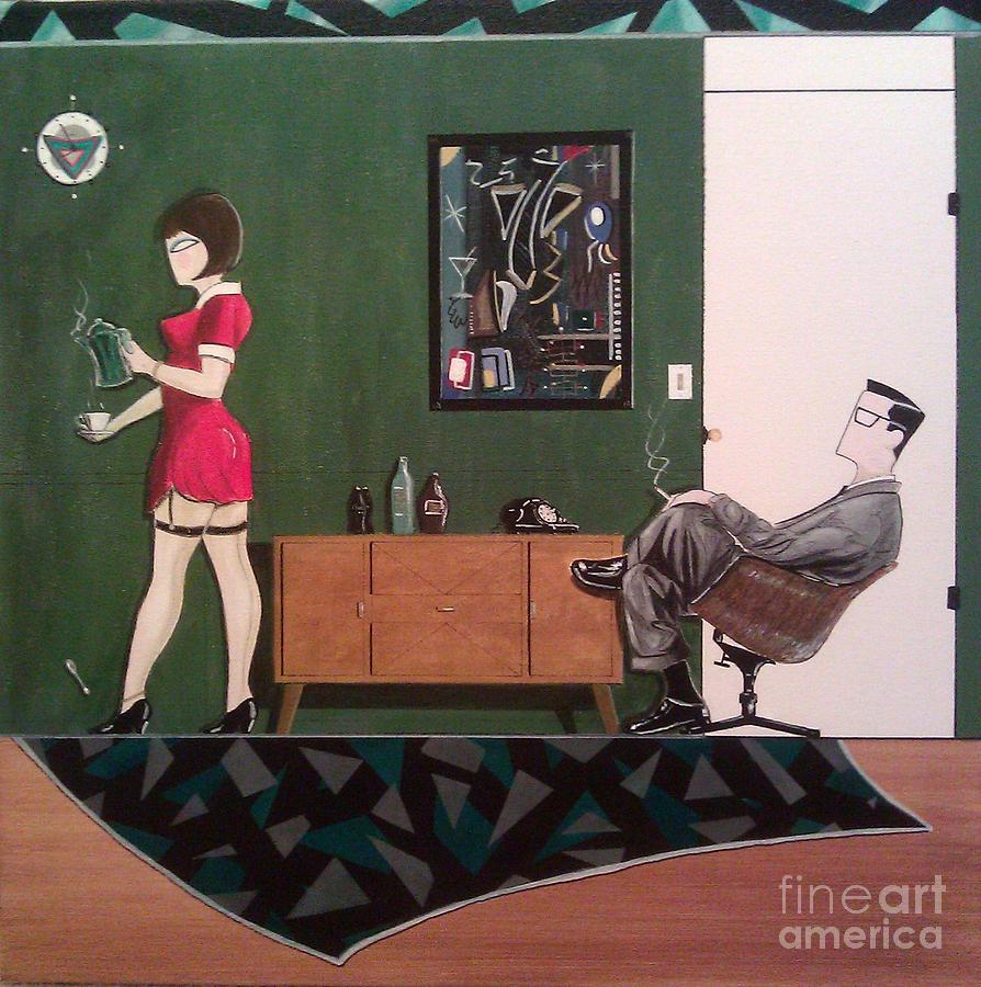 Chairs Painting - Ad Man Sitting In Chair Steadily Watching Coffee Girl by John Lyes