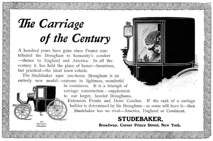 1901 Drawing - Ad Studebaker Carriages by Granger