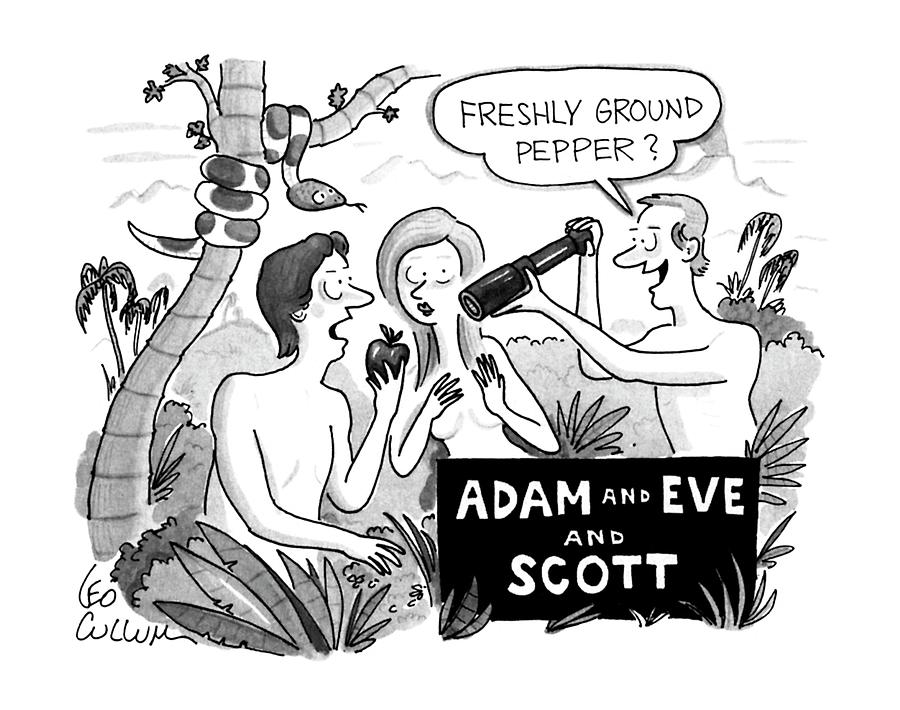Adam And Eve And Scott Drawing by Leo Cullum