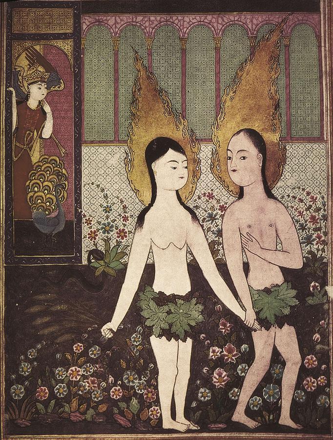 Vertical Photograph - Adam And Eve. Islamic Art. Miniature by Everett