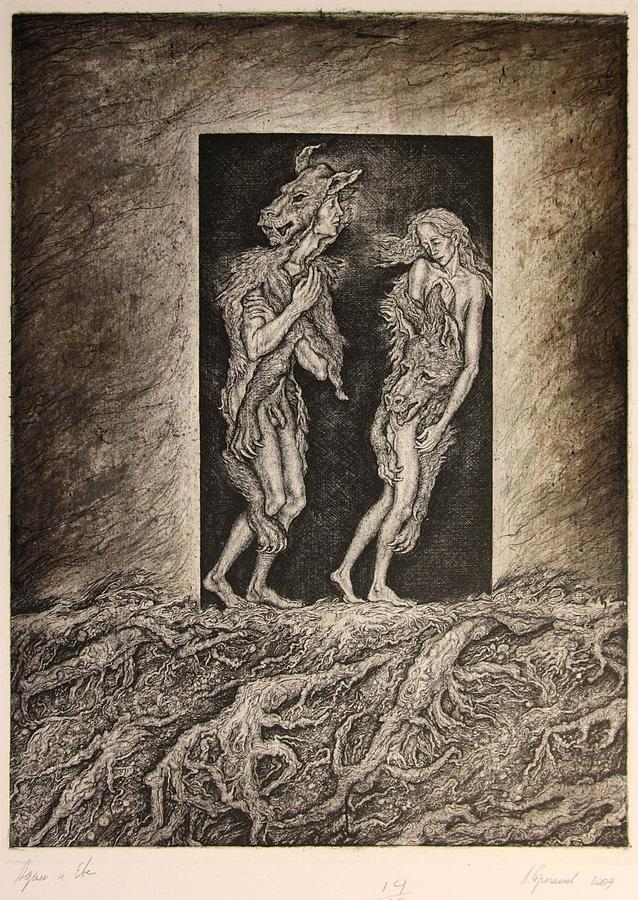 Etching Drawing - Adam And Eve by Leonid Stroganov
