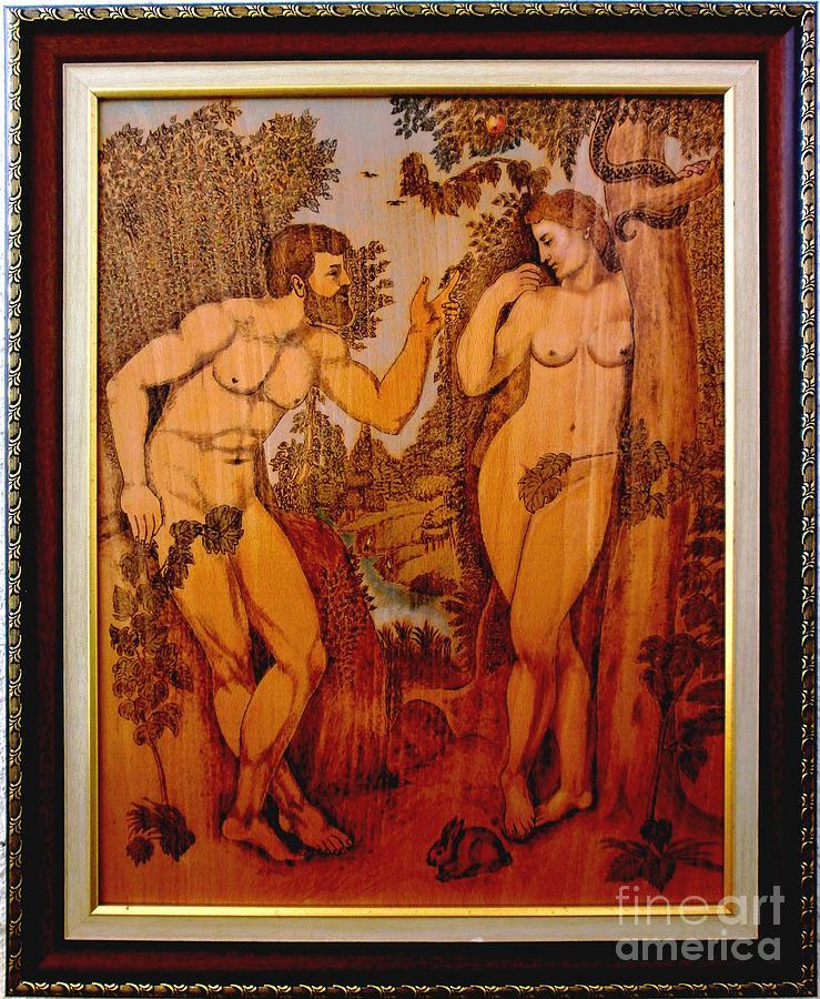 Peter Rubens Painting - Adam And Eve  Peter Paul Rubens Fine Wood Burning Art by Christo Grudev