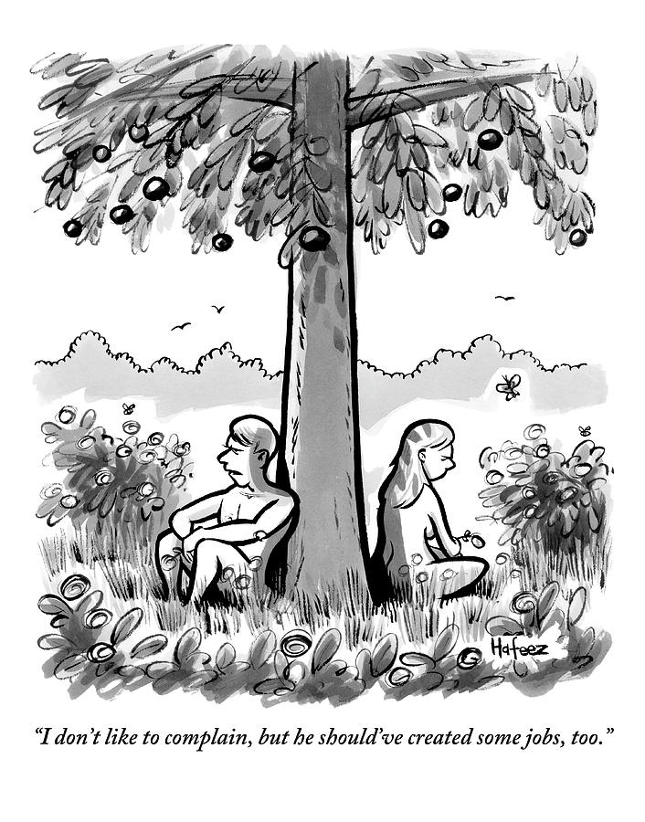 Adam And Eve Sit Back To Back Against A Tree Drawing by Kaamran Hafeez