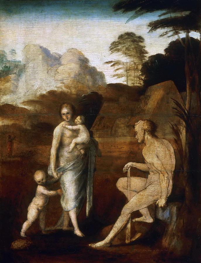 Fra Bartolomeo Painting - Adam And Eve With Cain And Abel by Fra Bartolomeo