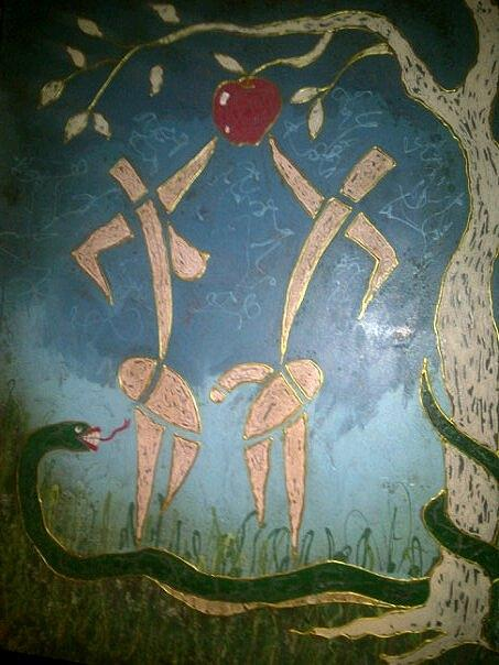 Adam Eve And The Apple Painting by G Oktober