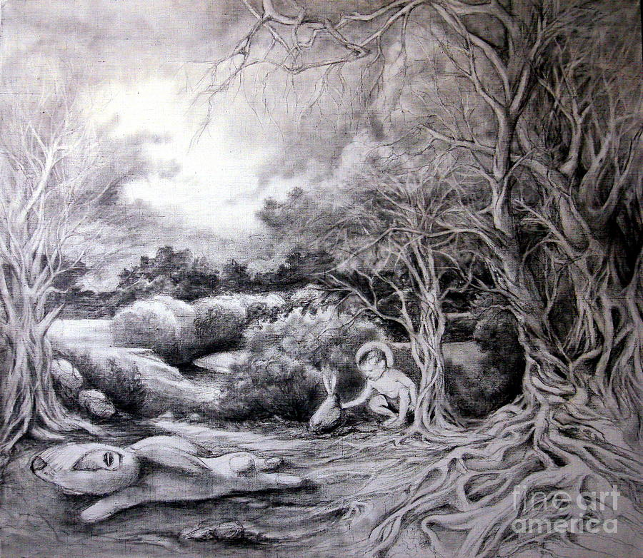 Adam In Heaven Drawing by Mikhail Savchenko