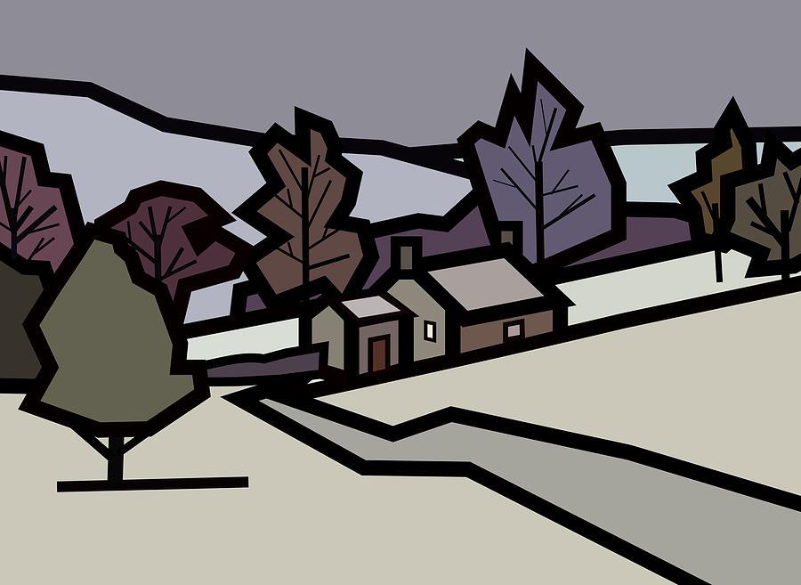 Farm Painting - Adams Farm In Winter by Kenneth North