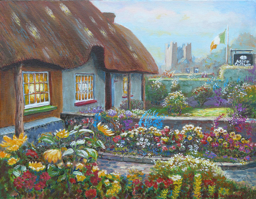Adare Painting - Adare Gardens Co Limerick by Tomas OMaoldomhnaigh