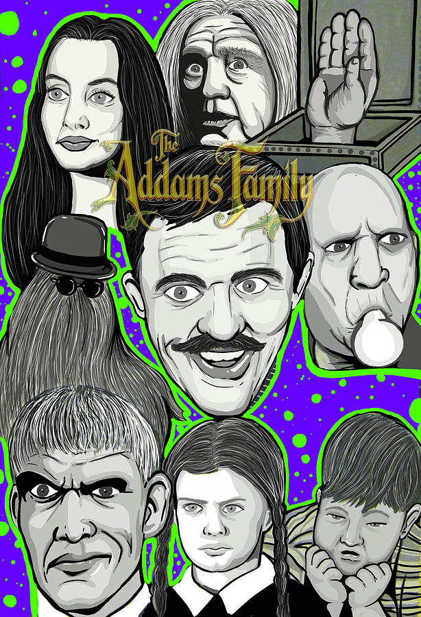 Horror Painting - Addams Family Portrait by Gary Niles