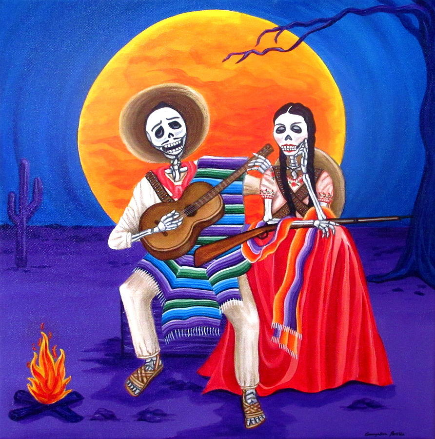 Day Of The Dead Painting - Adelita by Evangelina Portillo