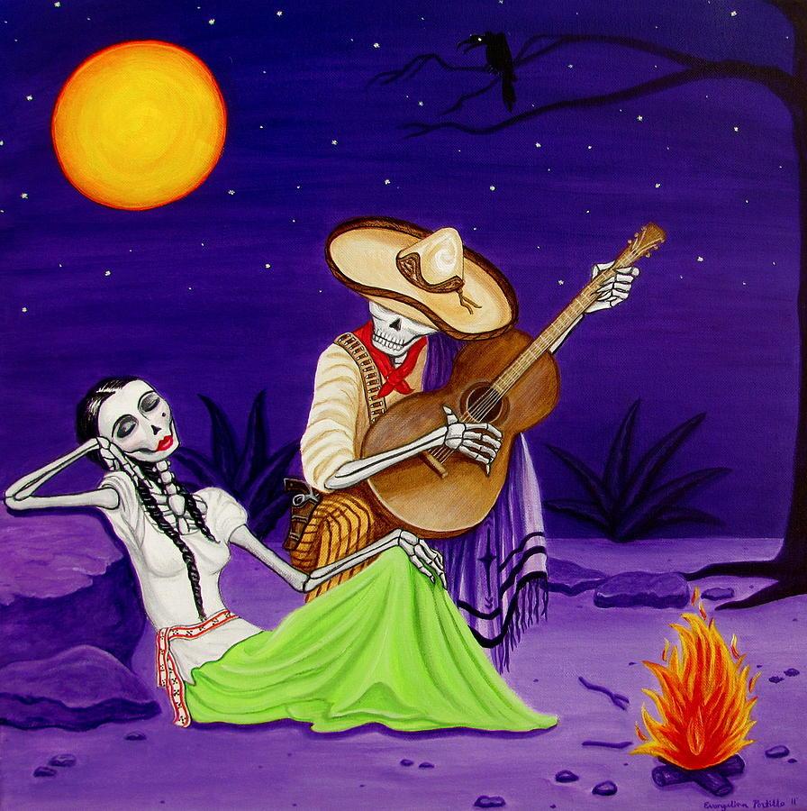 Dia De Los Muertos Painting - Adelita Y Juan by Evangelina Portillo