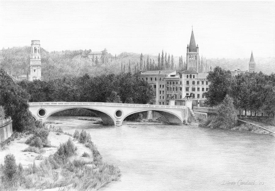 Landscape Drawing - Adige River  Verona by Diane Cardaci