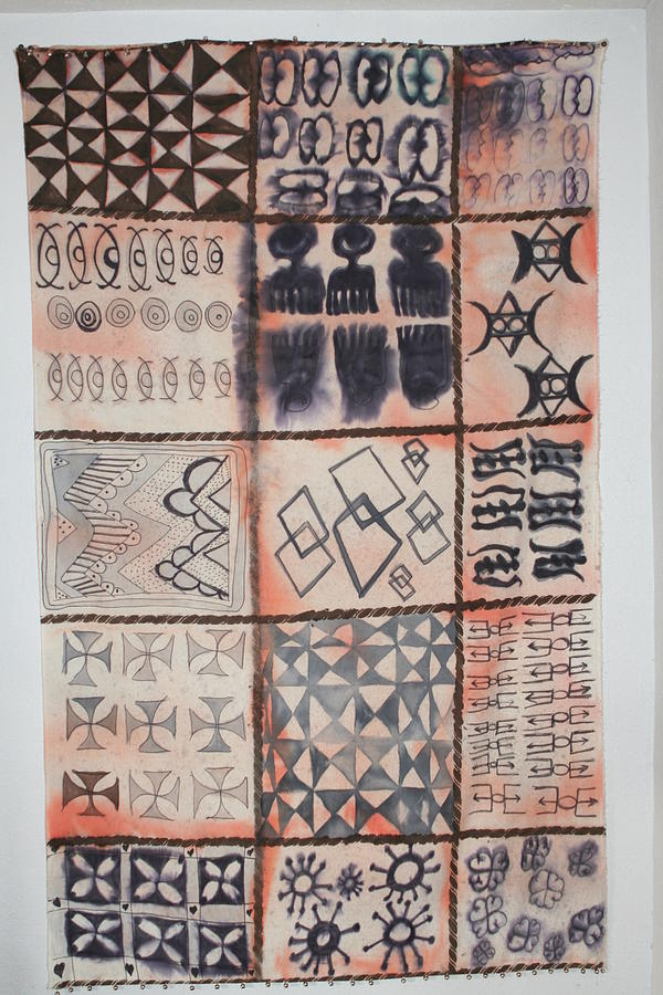 adinkra cloth with bells mixed media by carrie maurer