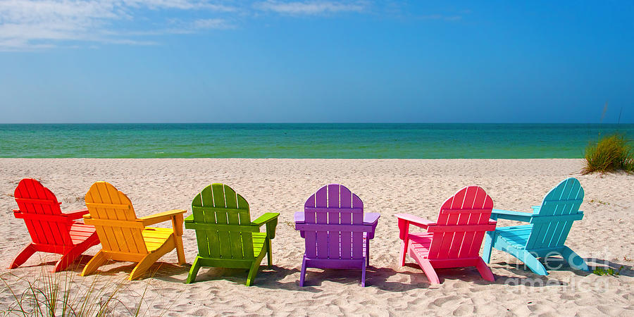 Superieur Beach Chairs Photograph   Adirondack Beach Chairs For A Summer Vacation In  The Shell Sand By