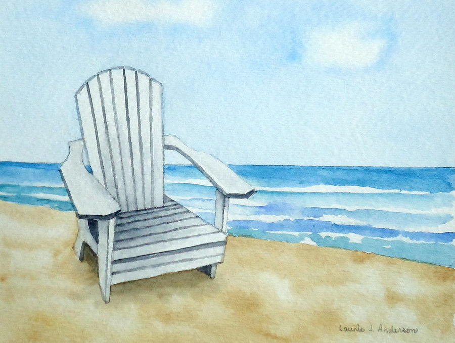 Adirondack Chair At The Beach Painting by Laurie Anderson
