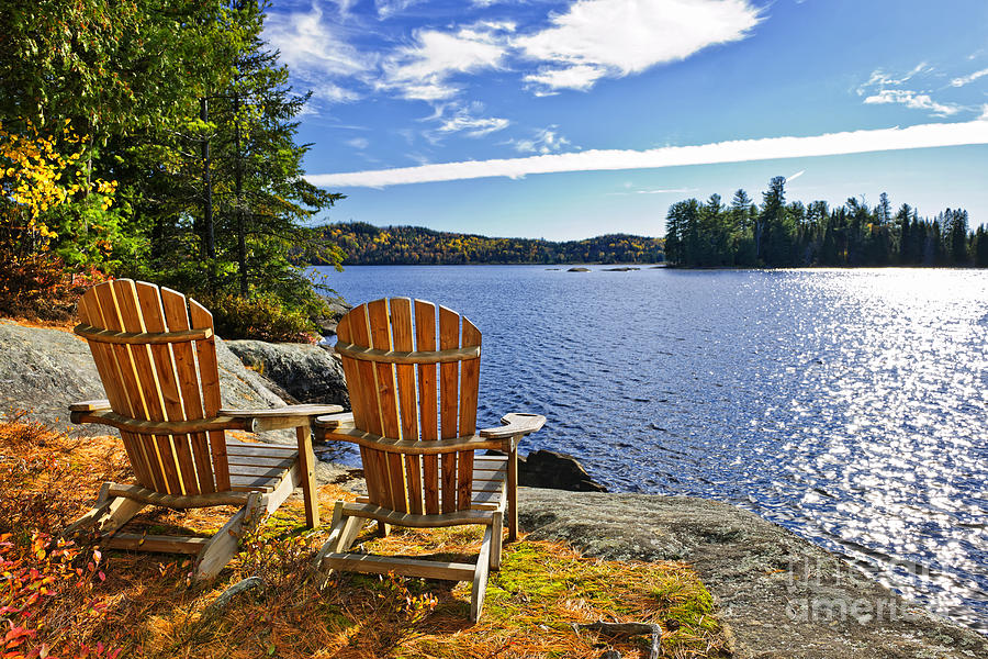 adirondack chairs lake