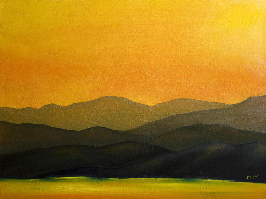 Adirondack Mountains Painting - Adirondack Sunset by Stephen J DiRienzo