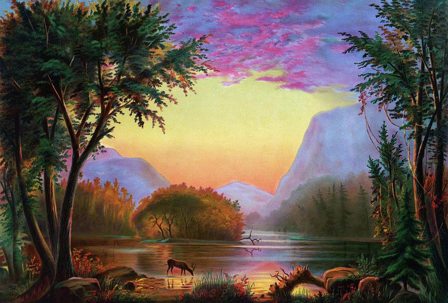 1870 Painting - Adirondacks Sunset by Granger