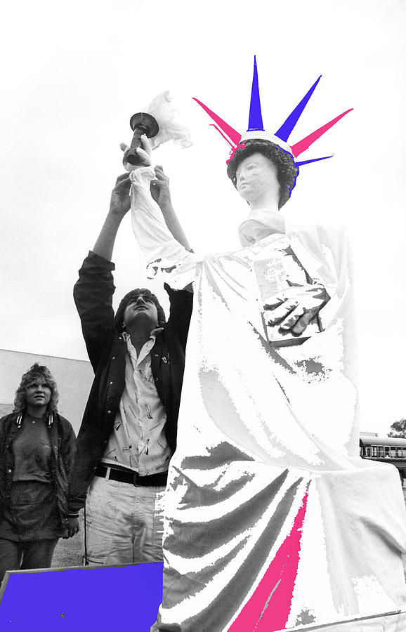 Adjusting  Torch Statue Of Liberty Statue July 4th Parade Tucson Arizona  Photograph by David Lee Guss