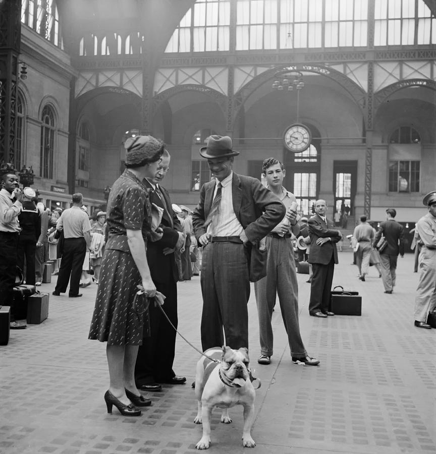 Penn Station Photograph - Admiring The Dog At Penn Station 1942 by Mountain Dreams