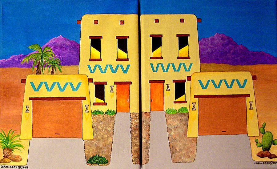 Adobe Painting - Adobe Twins by Carol Sabo